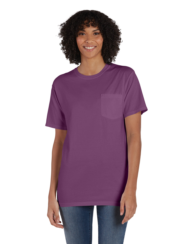 ComfortWash by Hanes Unisex 5.5 oz., 100% Ringspun Cotton Garment-Dyed T-Shirt with Pocket PURPLE PLM RAISN