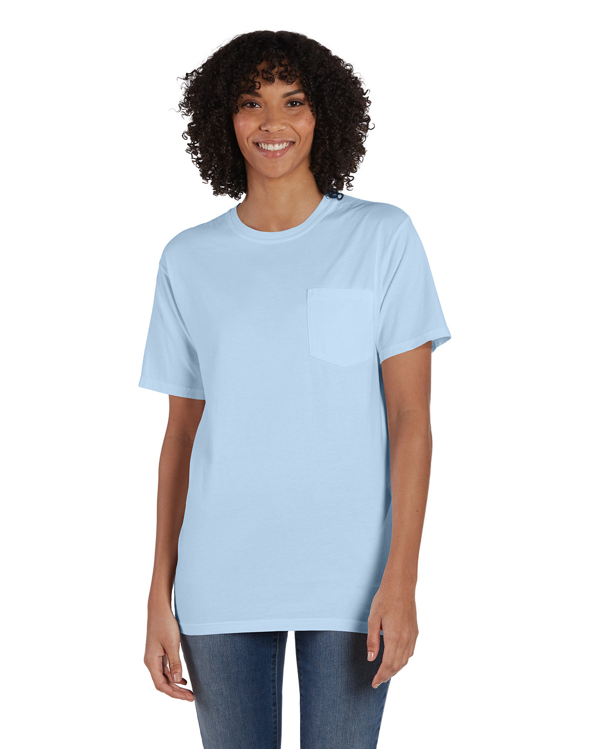ComfortWash by Hanes Unisex 5.5 oz., 100% Ringspun Cotton Garment-Dyed T-Shirt with Pocket SOOTHING BLUE