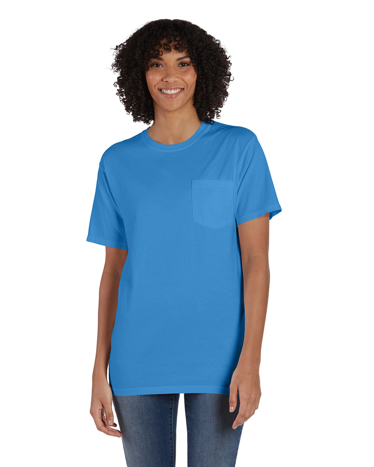 ComfortWash by Hanes Unisex 5.5 oz., 100% Ringspun Cotton Garment-Dyed T-Shirt with Pocket SUMMER SKY