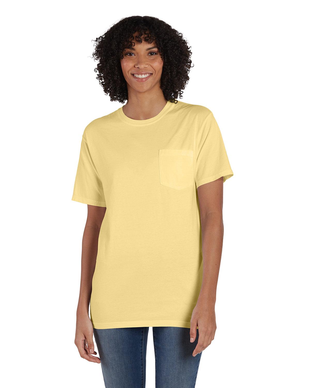 ComfortWash by Hanes Unisex 5.5 oz., 100% Ringspun Cotton Garment-Dyed T-Shirt with Pocket SUMMER SQUASH