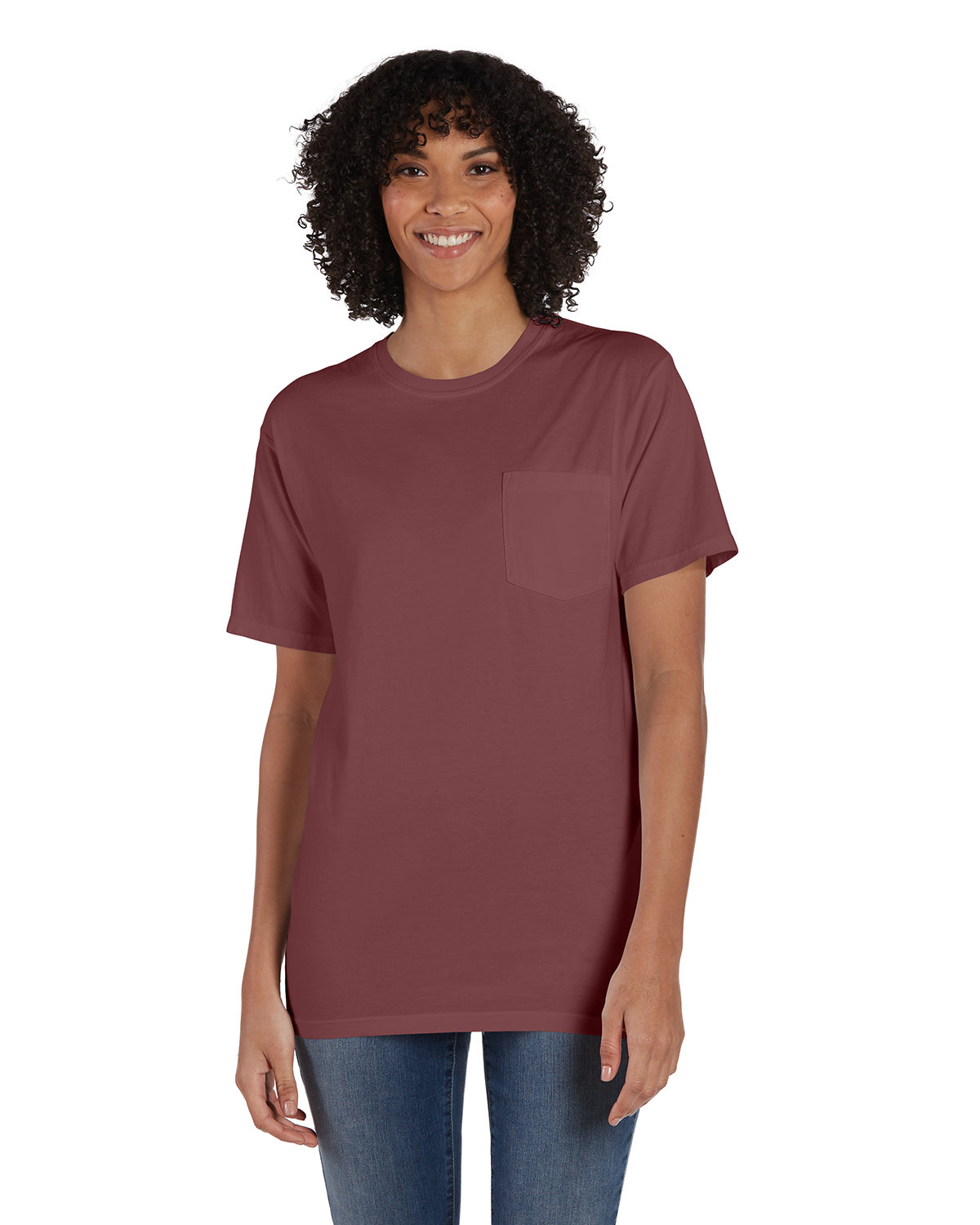 ComfortWash by Hanes Unisex 5.5 oz., 100% Ringspun Cotton Garment-Dyed T-Shirt with Pocket CAYENNE
