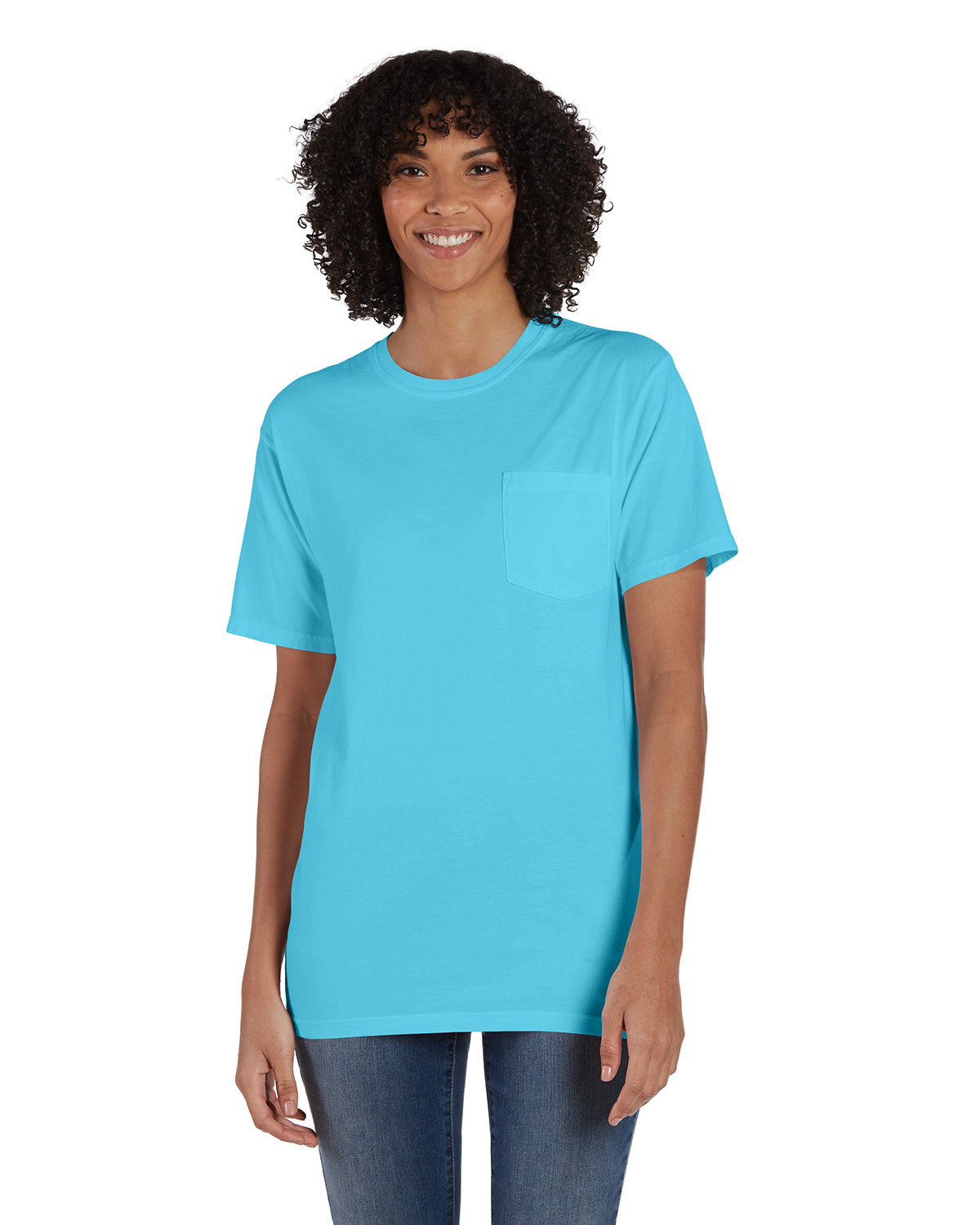 ComfortWash by Hanes Unisex 5.5 oz., 100% Ringspun Cotton Garment-Dyed T-Shirt with Pocket FRESHWATER