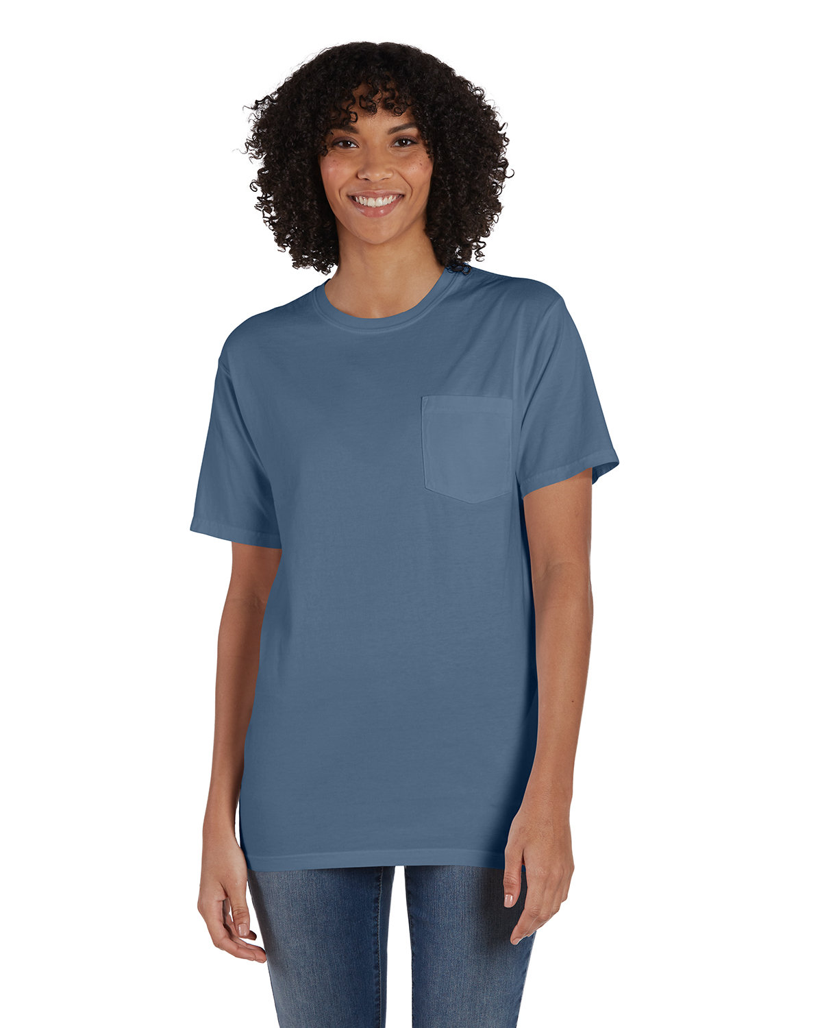 ComfortWash by Hanes Unisex 5.5 oz., 100% Ringspun Cotton Garment-Dyed T-Shirt with Pocket SALTWATER