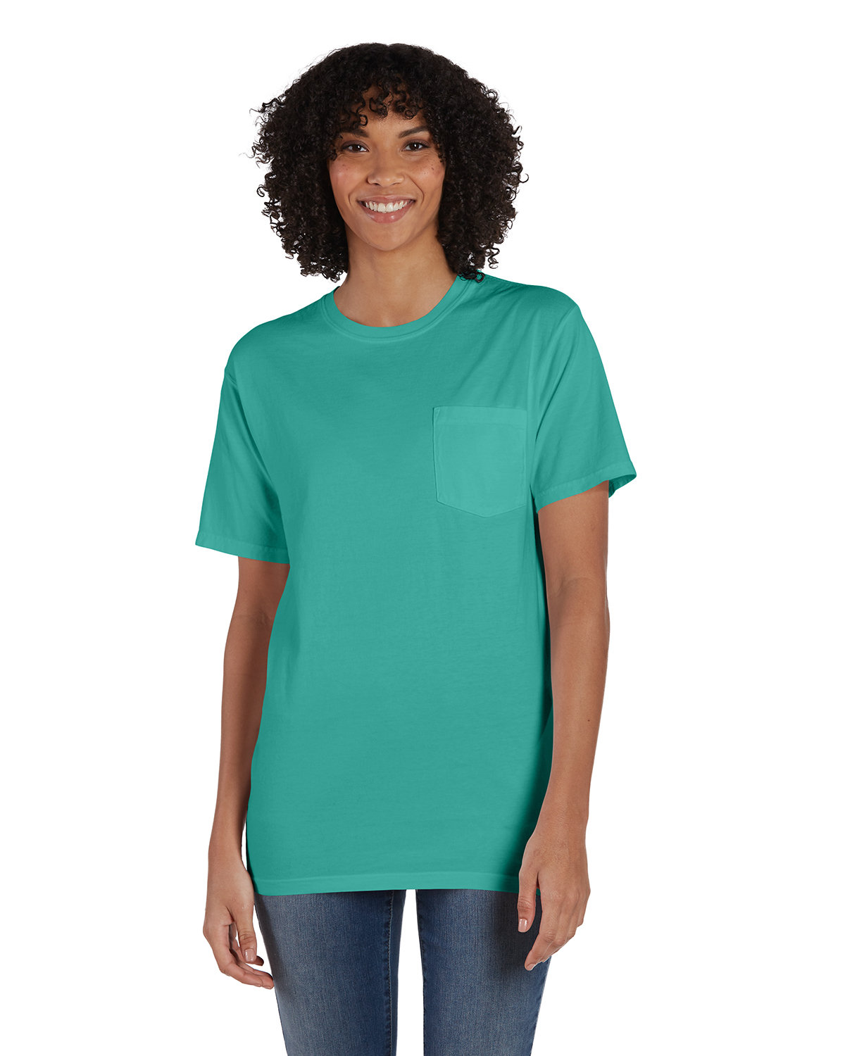 ComfortWash by Hanes Unisex 5.5 oz., 100% Ringspun Cotton Garment-Dyed T-Shirt with Pocket SPANISH MOSS