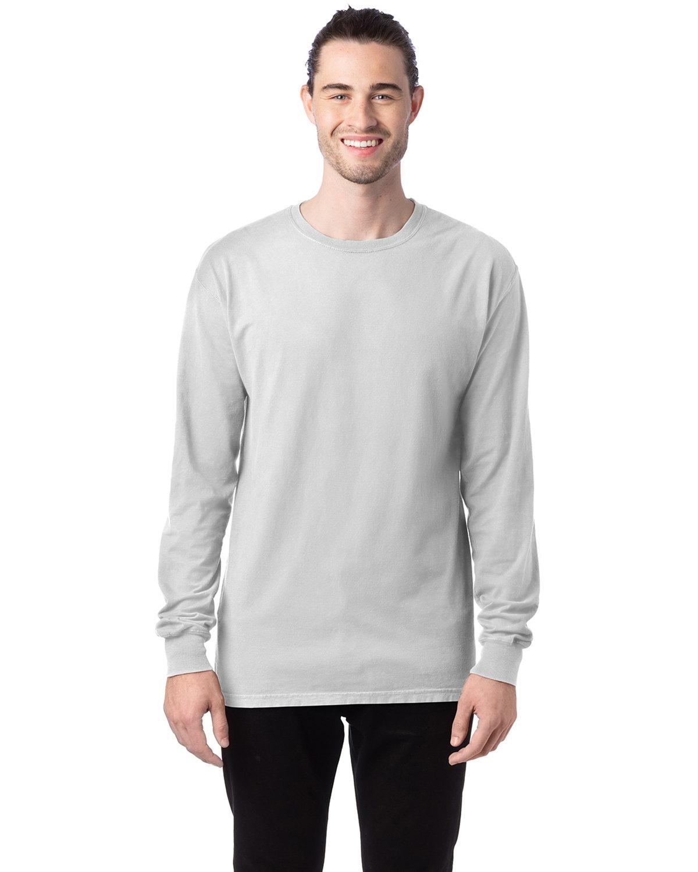 ComfortWash by Hanes Unisex 5.5 oz., 100% Ringspun Cotton Garment-Dyed Long-Sleeve T-Shirt WHITE