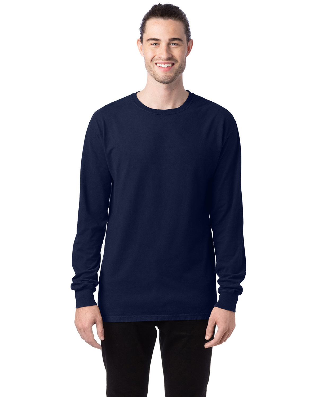 ComfortWash by Hanes Unisex 5.5 oz., 100% Ringspun Cotton Garment-Dyed Long-Sleeve T-Shirt NAVY