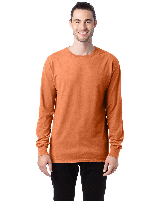 ComfortWash by Hanes Unisex 5.5 oz., 100% Ringspun Cotton Garment-Dyed Long-Sleeve T-Shirt HORIZON ORANGE