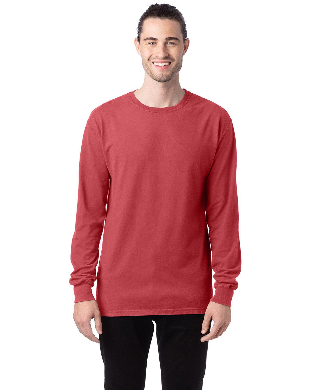 ComfortWash by Hanes Unisex 5.5 oz., 100% Ringspun Cotton Garment-Dyed Long-Sleeve T-Shirt CRIMSON FALL