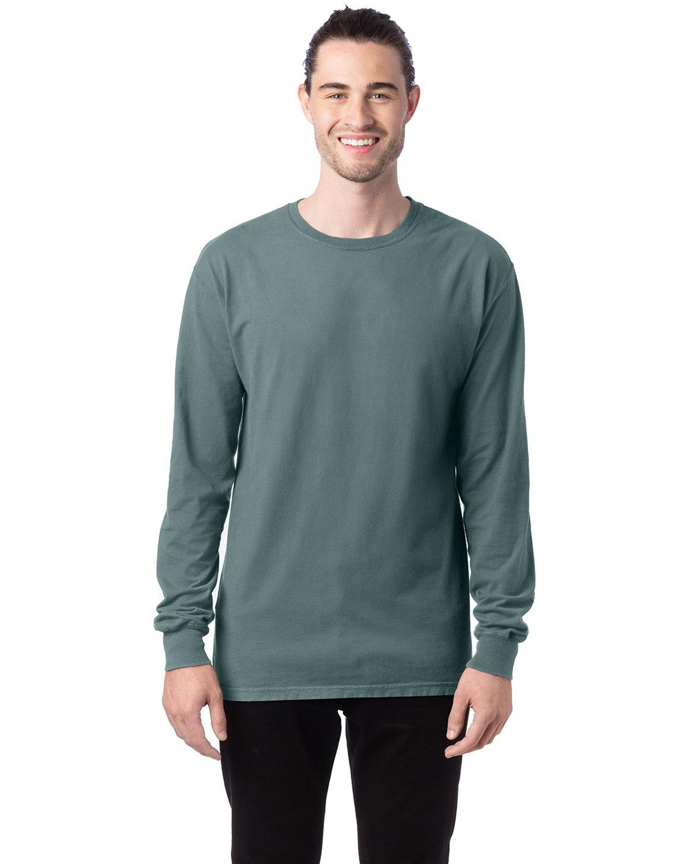 ComfortWash by Hanes Unisex 5.5 oz., 100% Ringspun Cotton Garment-Dyed Long-Sleeve T-Shirt CYPRESS GREEN