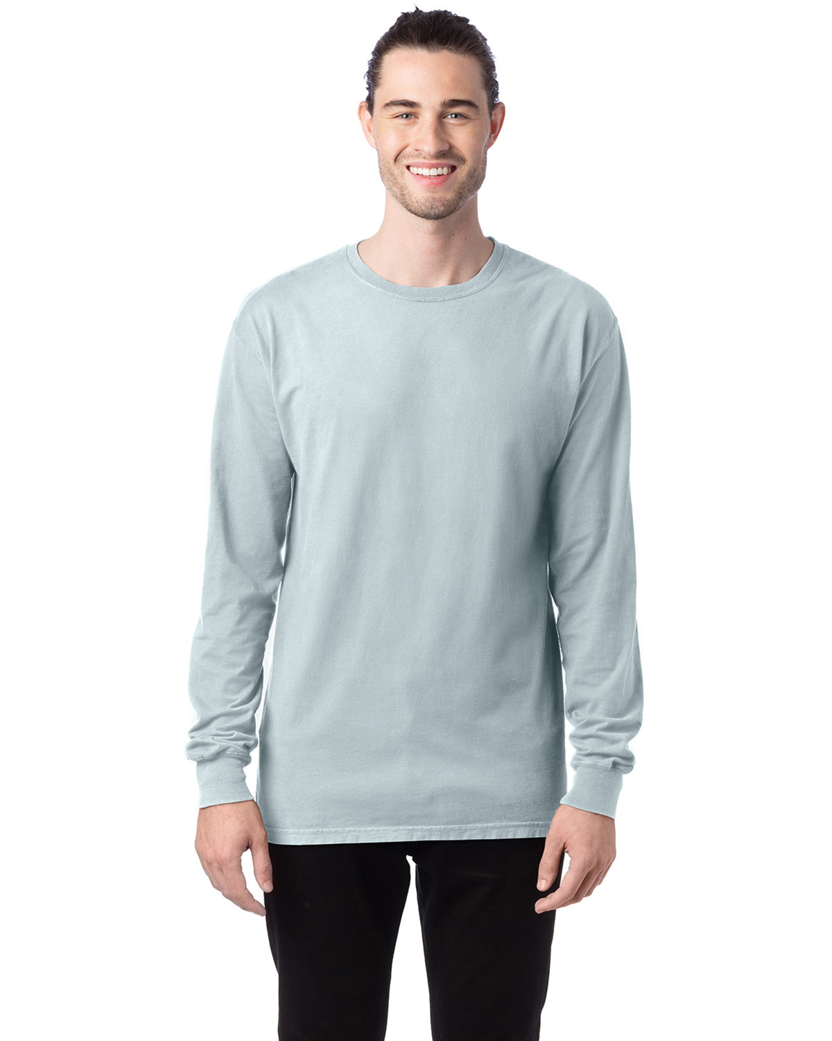 ComfortWash by Hanes Unisex 5.5 oz., 100% Ringspun Cotton Garment-Dyed Long-Sleeve T-Shirt SOOTHING BLUE