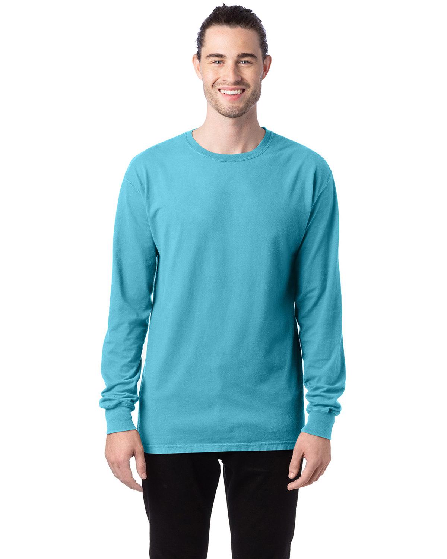 ComfortWash by Hanes Unisex 5.5 oz., 100% Ringspun Cotton Garment-Dyed Long-Sleeve T-Shirt FRESHWATER
