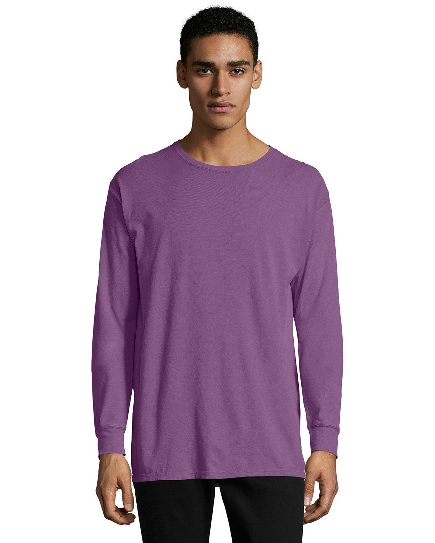 ComfortWash by Hanes Unisex 5.5 oz., 100% Ringspun Cotton Garment-Dyed Long-Sleeve T-Shirt PURPLE PLM RAISN
