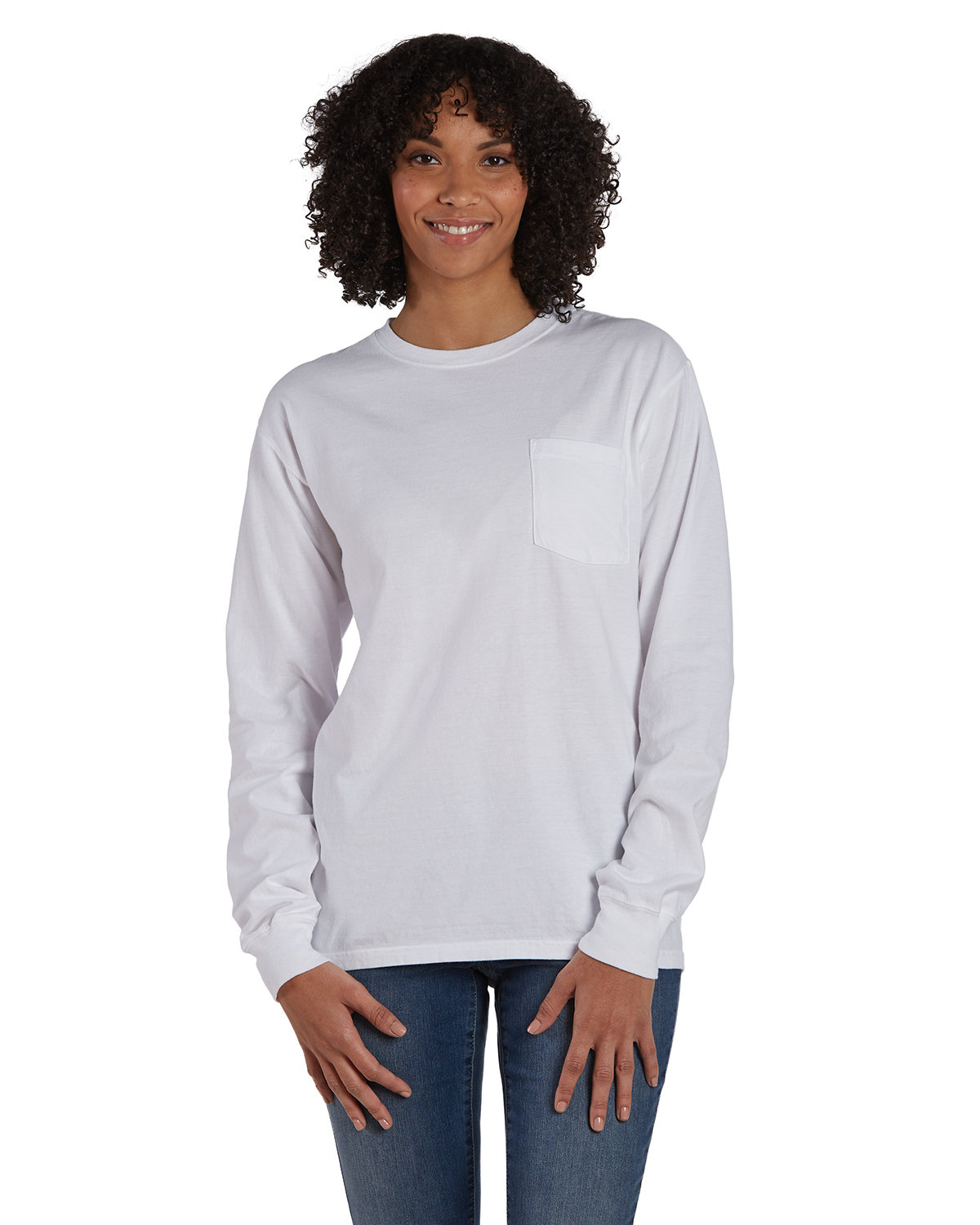 ComfortWash by Hanes Unisex Garment-Dyed Long-Sleeve T-Shirt with Pocket WHITE