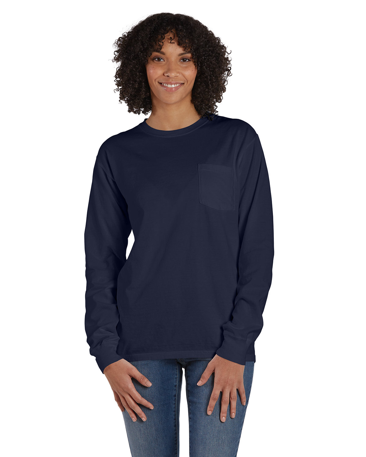 ComfortWash by Hanes Unisex Garment-Dyed Long-Sleeve T-Shirt with Pocket NAVY