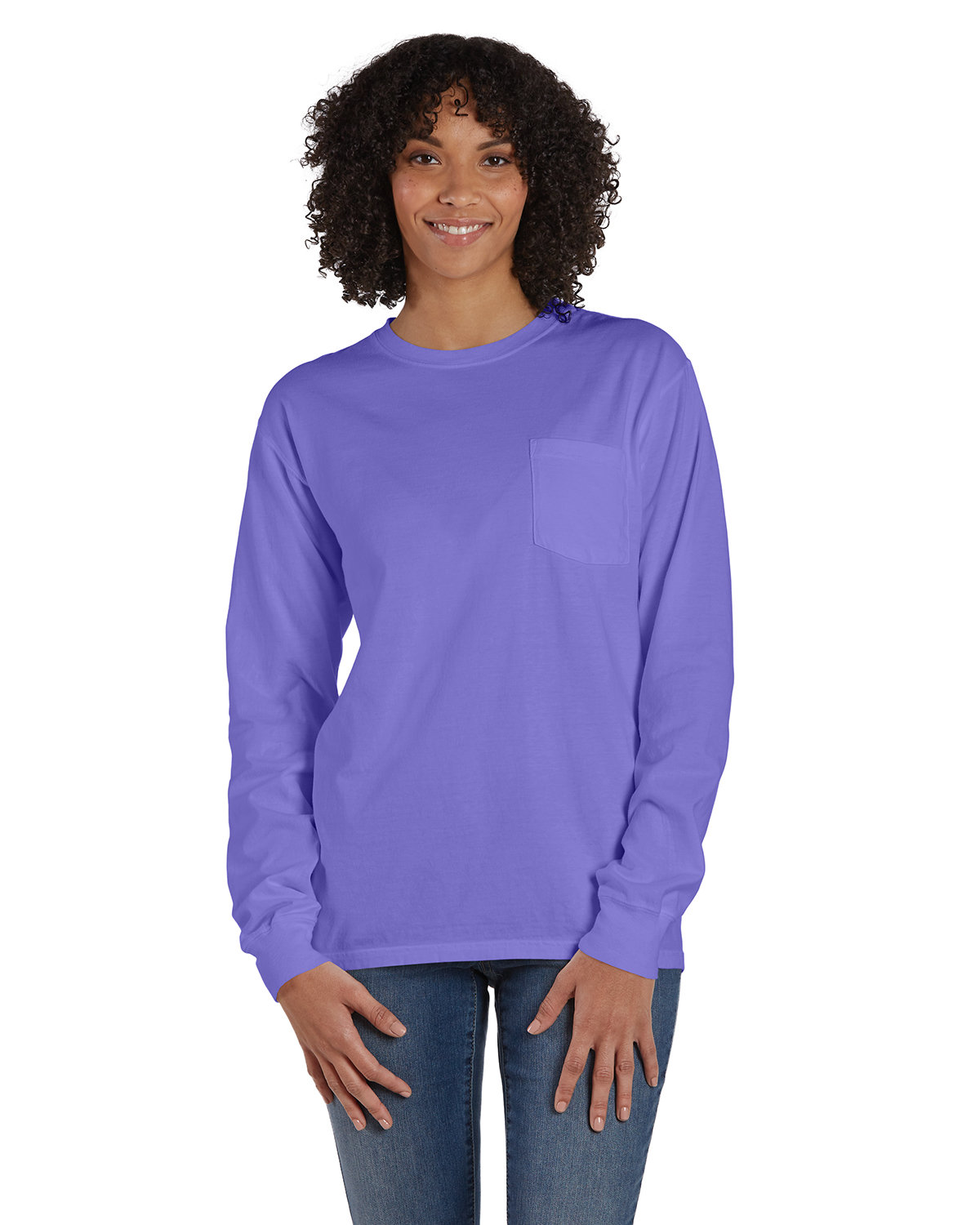ComfortWash by Hanes Unisex Garment-Dyed Long-Sleeve T-Shirt with Pocket LAVENDER