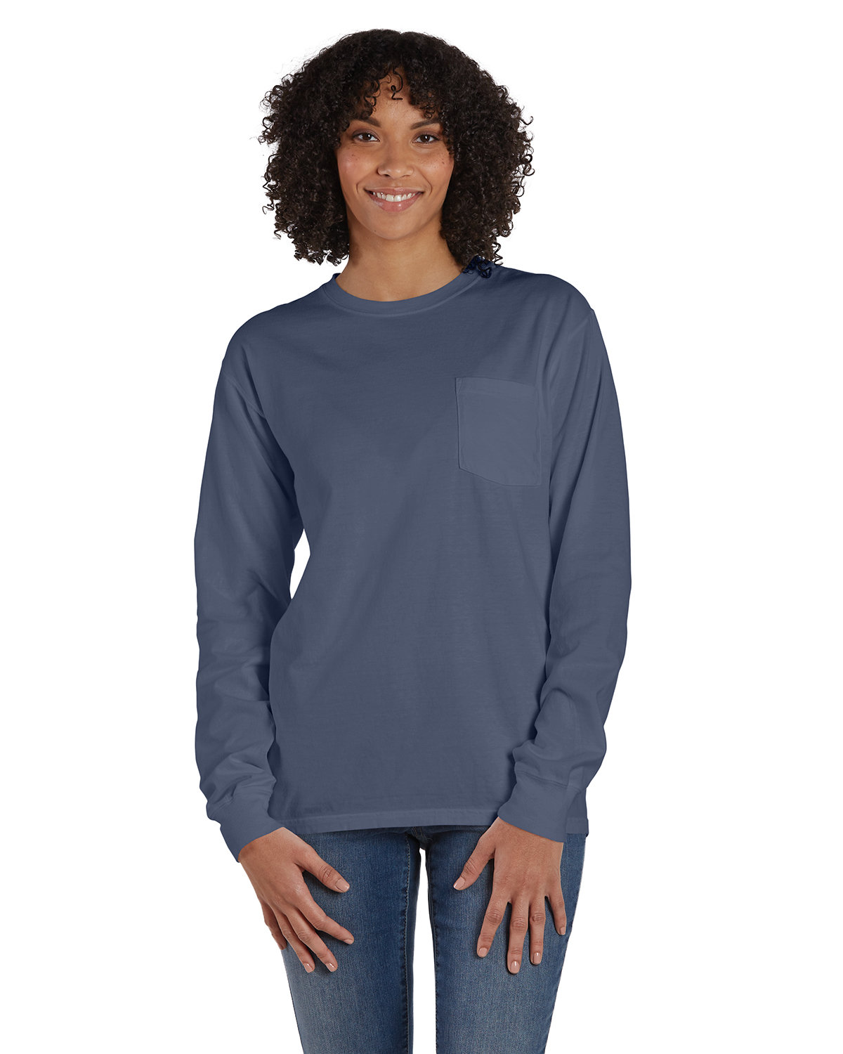 ComfortWash by Hanes Unisex Garment-Dyed Long-Sleeve T-Shirt with Pocket ANCHOR SLATE