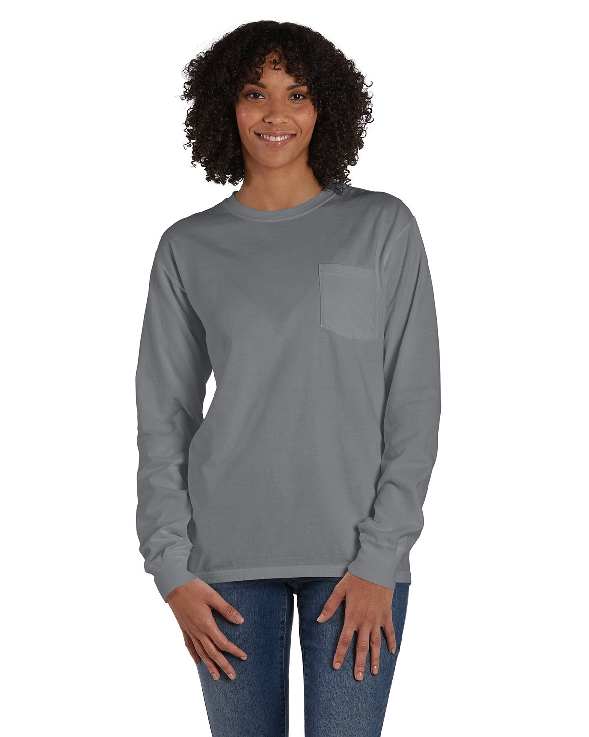 ComfortWash by Hanes Unisex Garment-Dyed Long-Sleeve T-Shirt with Pocket CONCRETE