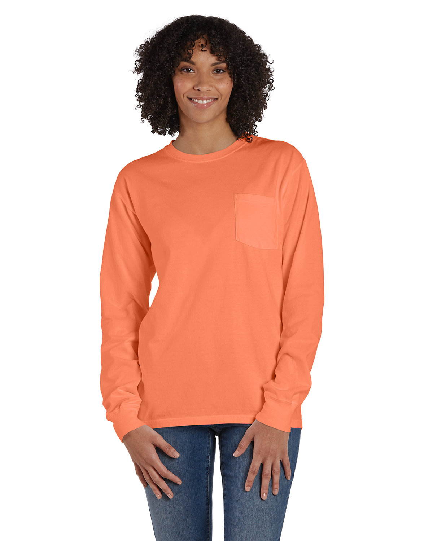 ComfortWash by Hanes Unisex Garment-Dyed Long-Sleeve T-Shirt with Pocket HORIZON ORANGE