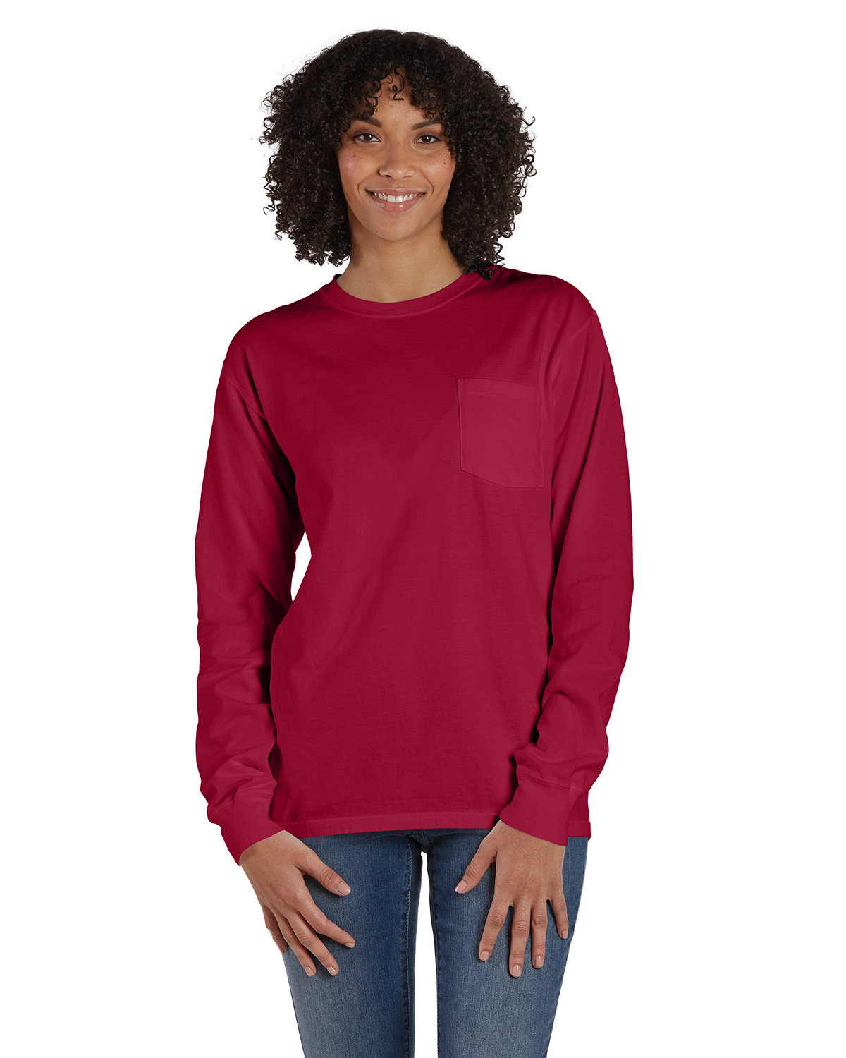 ComfortWash by Hanes Unisex Garment-Dyed Long-Sleeve T-Shirt with Pocket CRIMSON FALL