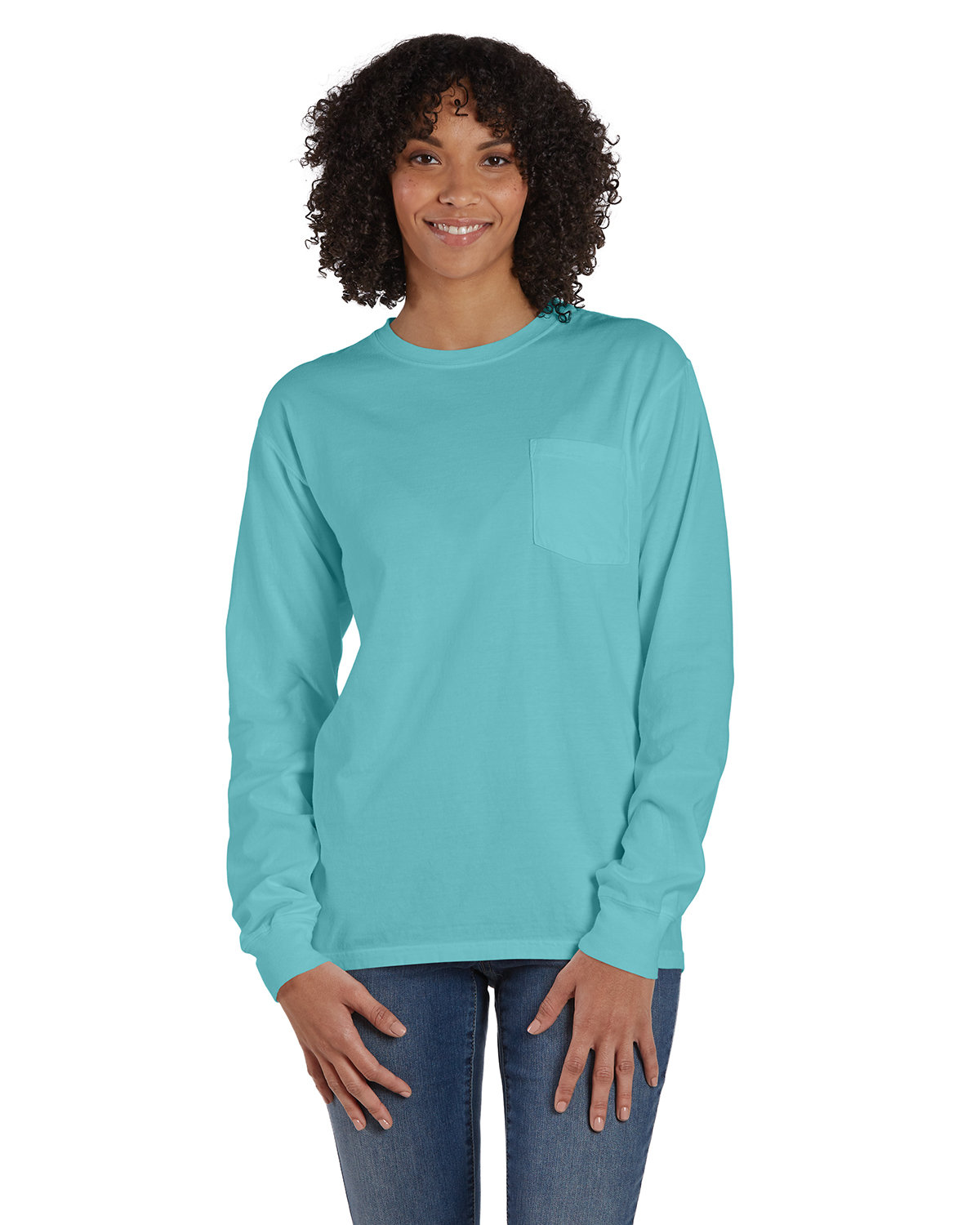 ComfortWash by Hanes Unisex Garment-Dyed Long-Sleeve T-Shirt with Pocket MINT