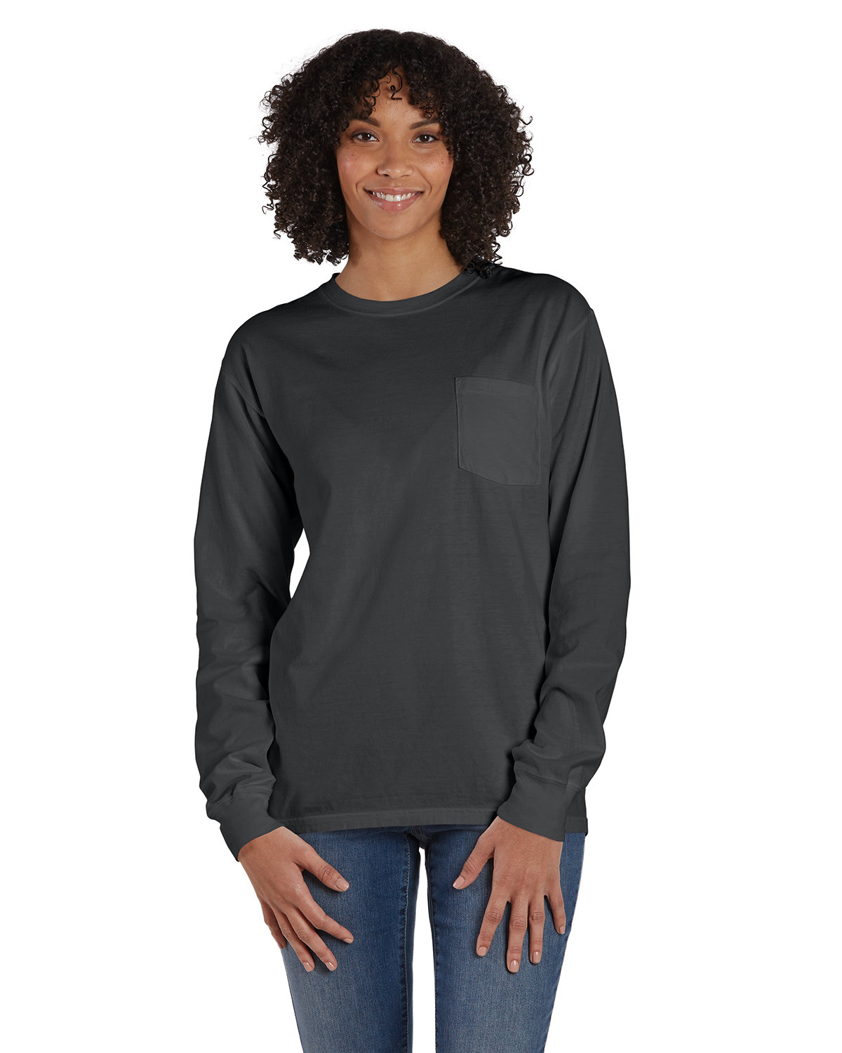 ComfortWash by Hanes Unisex Garment-Dyed Long-Sleeve T-Shirt with Pocket NEW RAILROAD