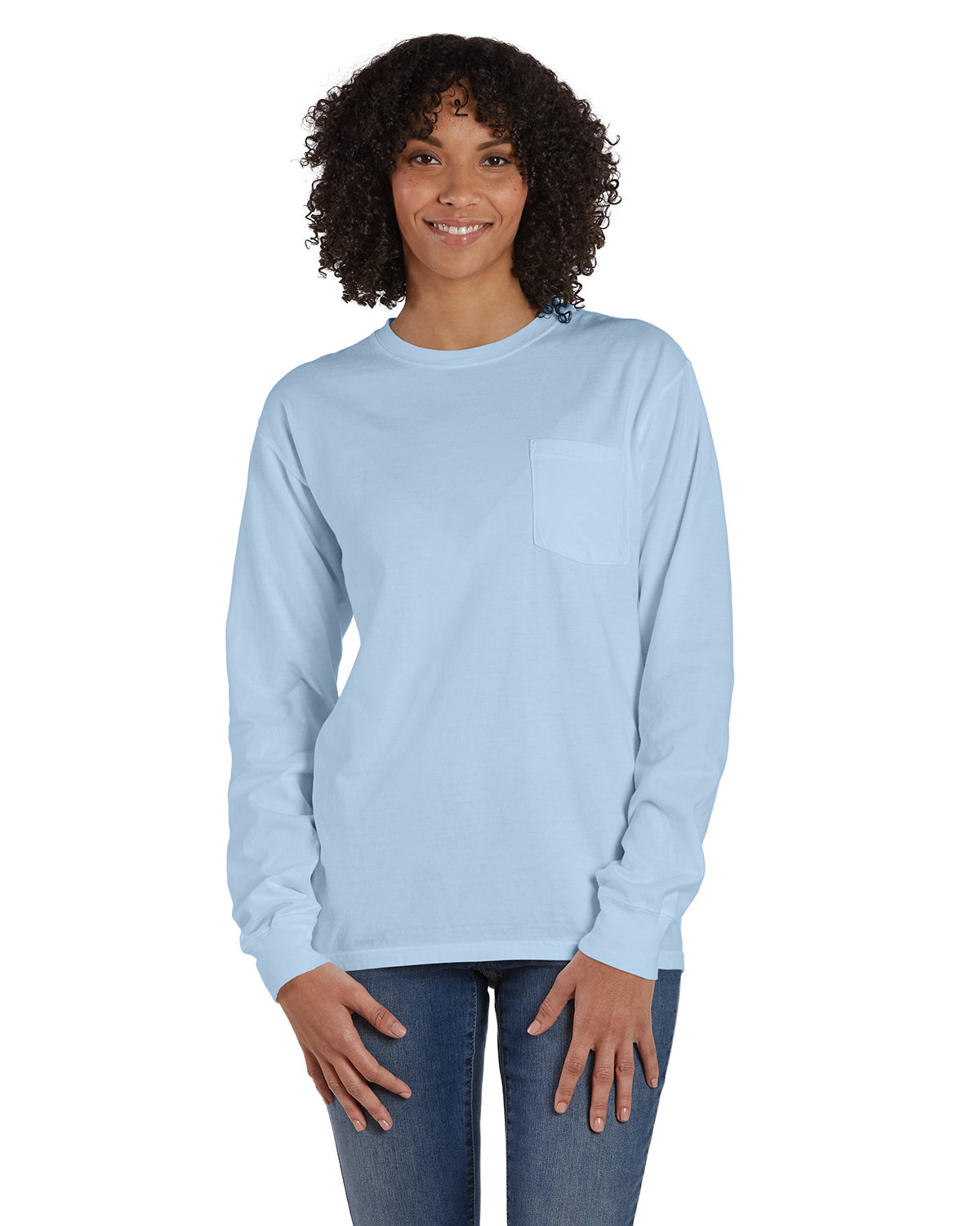 ComfortWash by Hanes Unisex Garment-Dyed Long-Sleeve T-Shirt with Pocket SOOTHING BLUE