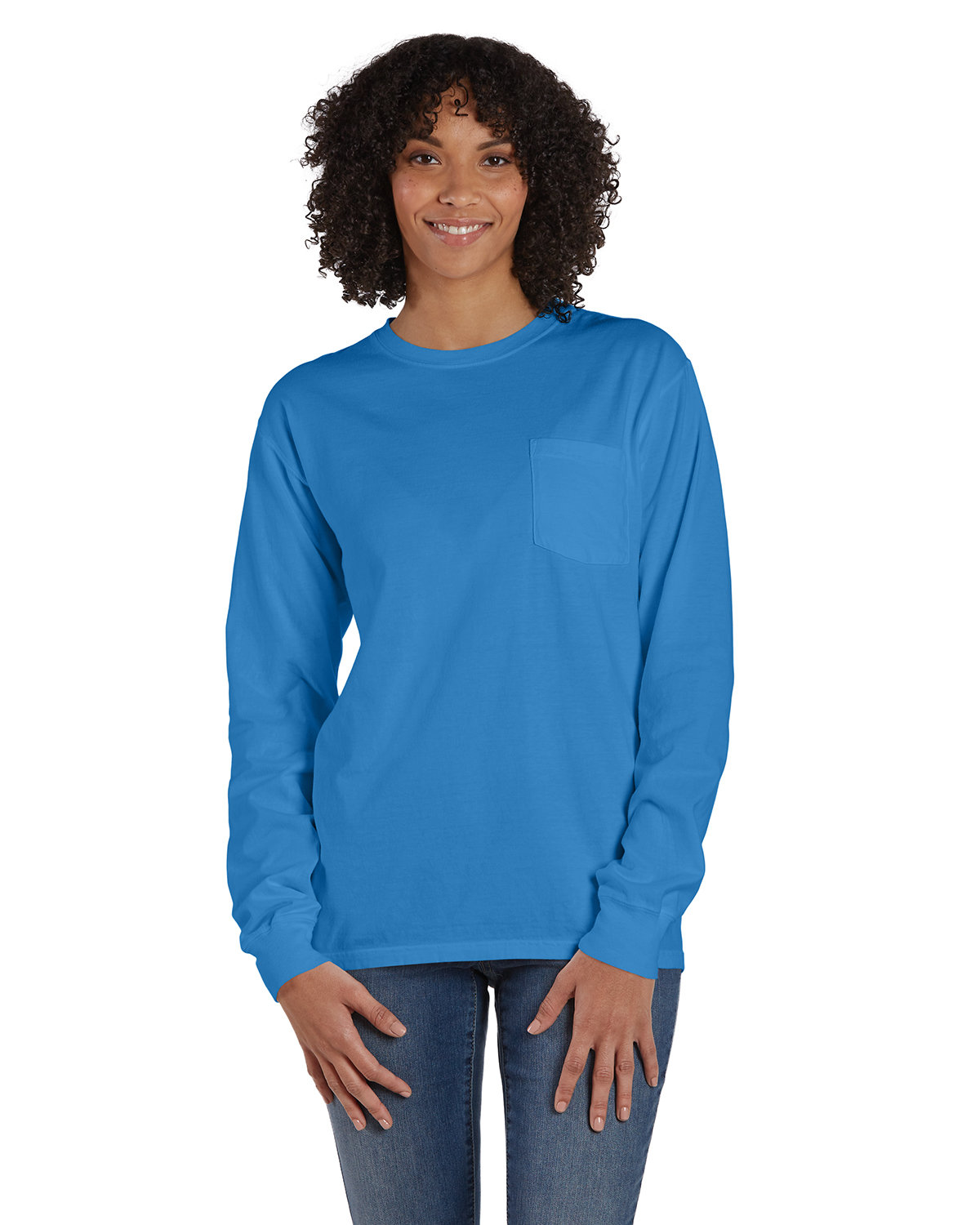 ComfortWash by Hanes Unisex Garment-Dyed Long-Sleeve T-Shirt with Pocket SUMMER SKY