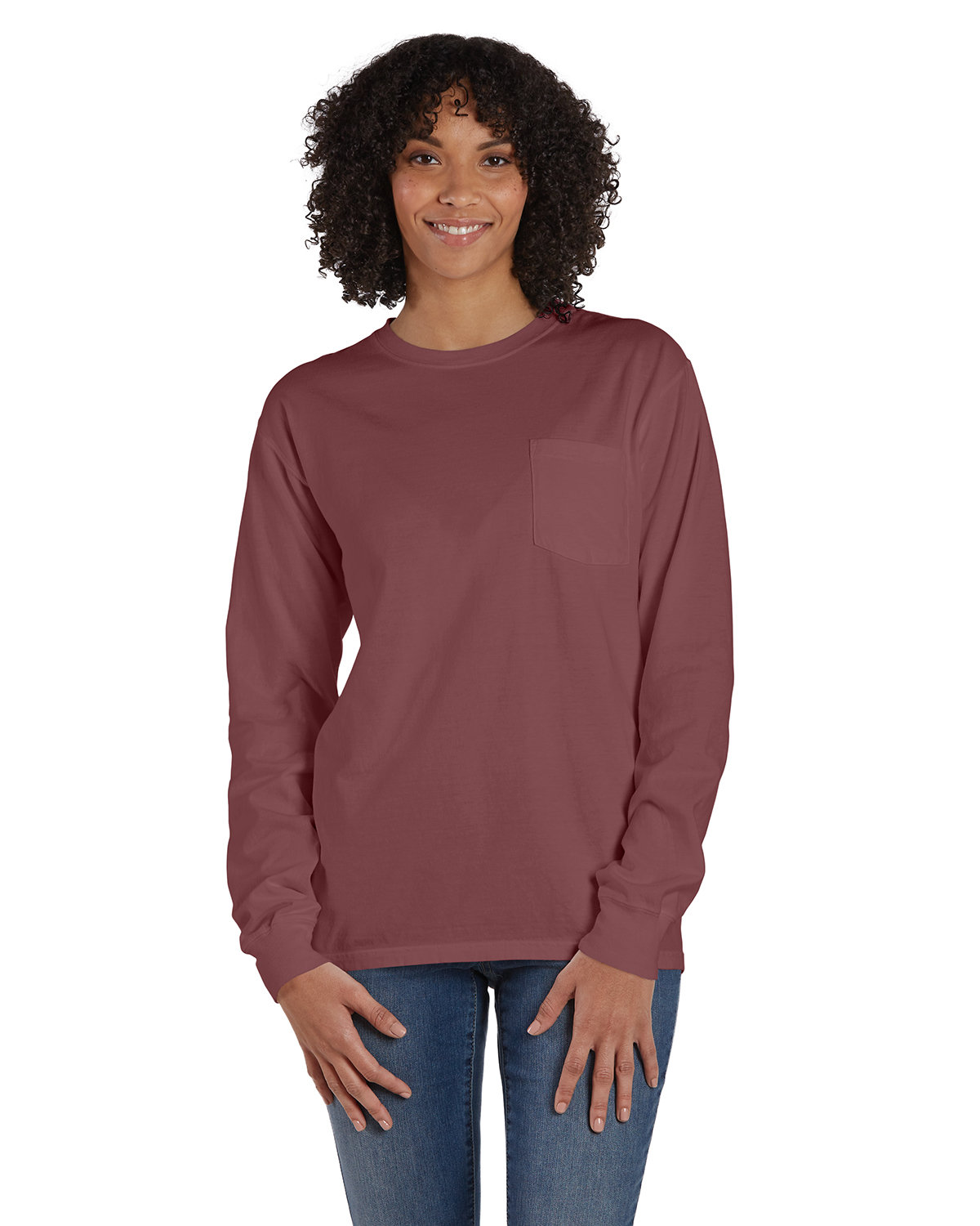 ComfortWash by Hanes Unisex Garment-Dyed Long-Sleeve T-Shirt with Pocket CAYENNE