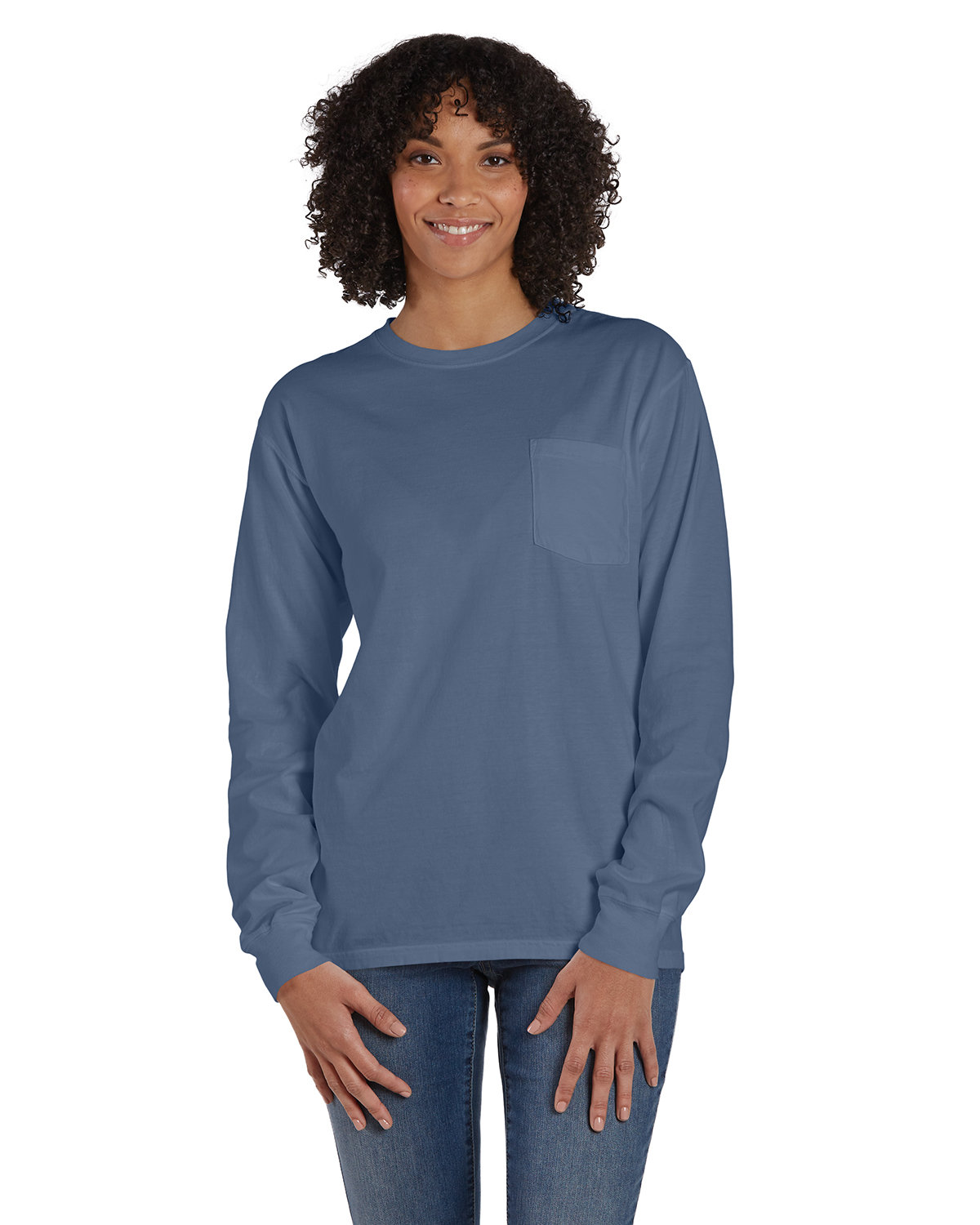 ComfortWash by Hanes Unisex Garment-Dyed Long-Sleeve T-Shirt with Pocket SALTWATER