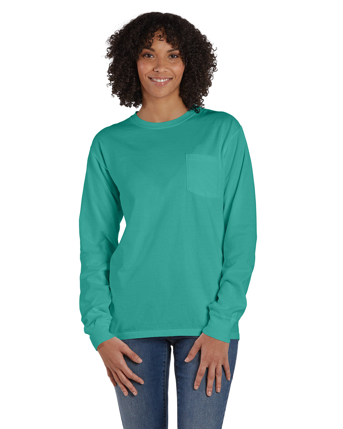 ComfortWash by Hanes Unisex Garment-Dyed Long-Sleeve T-Shirt with Pocket SPANISH MOSS
