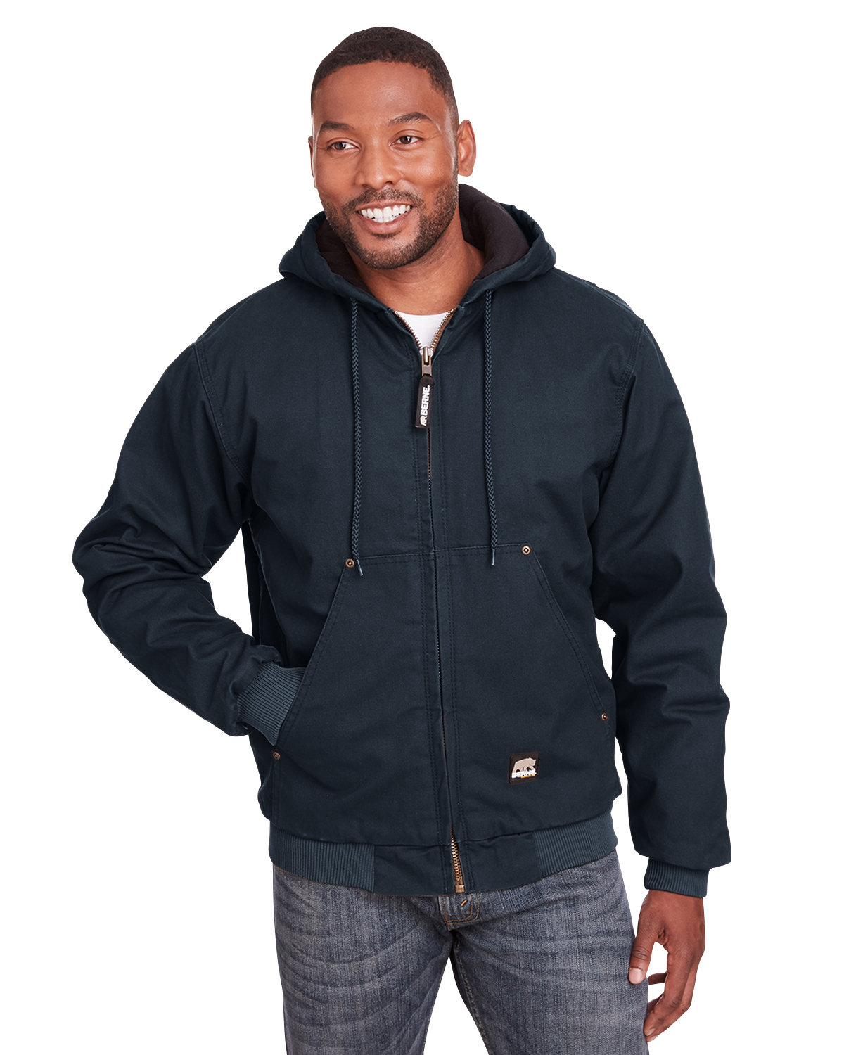 Berne Men's Highland Washed Cotton Duck Hooded Jacket MIDNIGHT