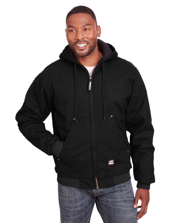 Berne Men's Highland Washed Cotton Duck Hooded Jacket BLACK