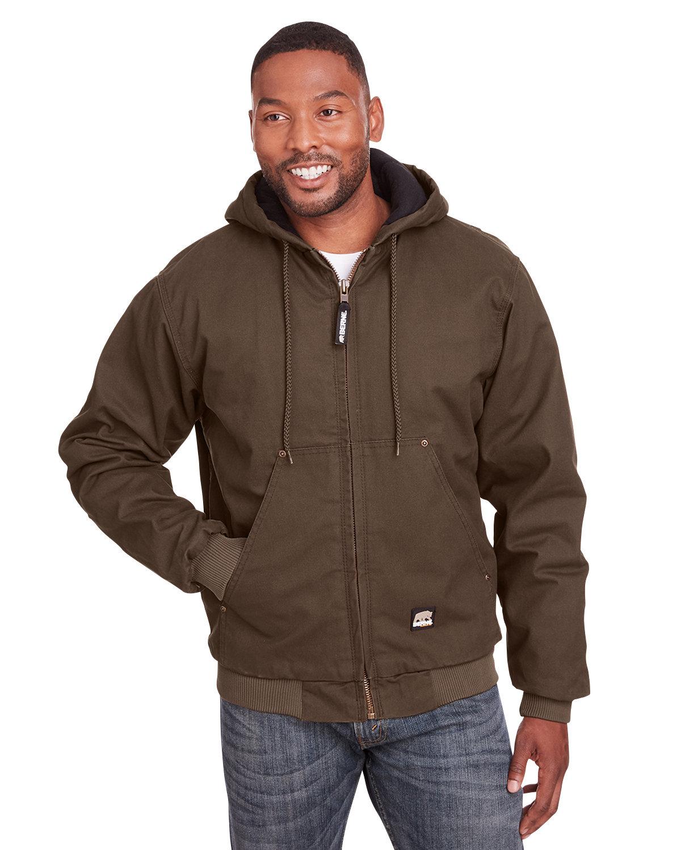 Berne Men's Tall Highland Washed Cotton Duck Hooded Jacket BARK