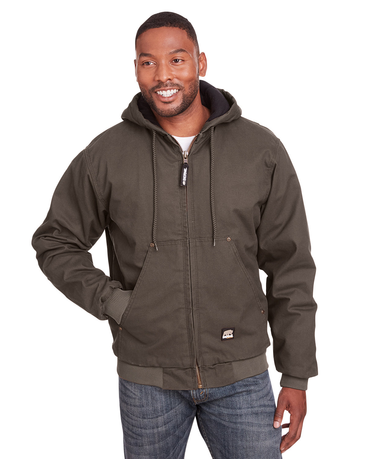 Berne Men's Tall Highland Washed Cotton Duck Hooded Jacket OLIVE DUCK