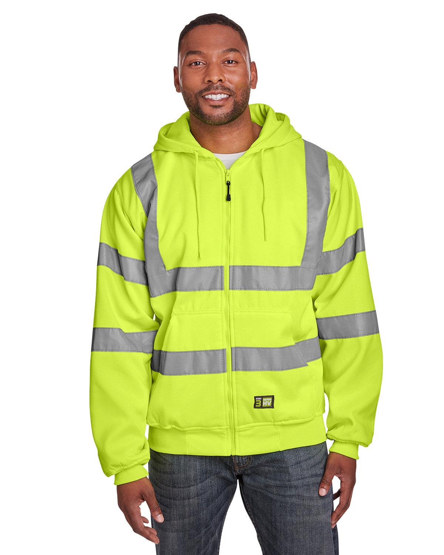 Berne Men's Berne Hi-Vis Class 3 Lined Full-Zip Hooded Sweatshirt HI VIS YELLOW