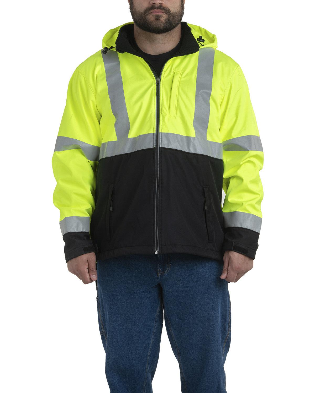 Berne Men's Hi-Vis Class 3 Hooded Softshell Jacket YELLOW