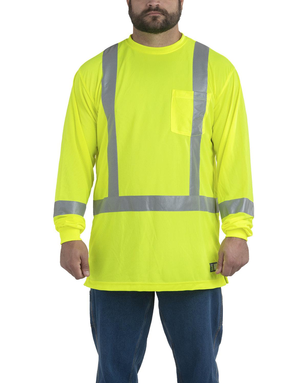 Berne Men's Hi-Vis Class 3 Performance Long Sleeve Pocket T-Shirt YELLOW