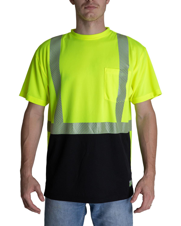 Berne Unisex Hi-Vis Class 2 Color Blocked Pocket T-Shirt HI VIS YELLOW