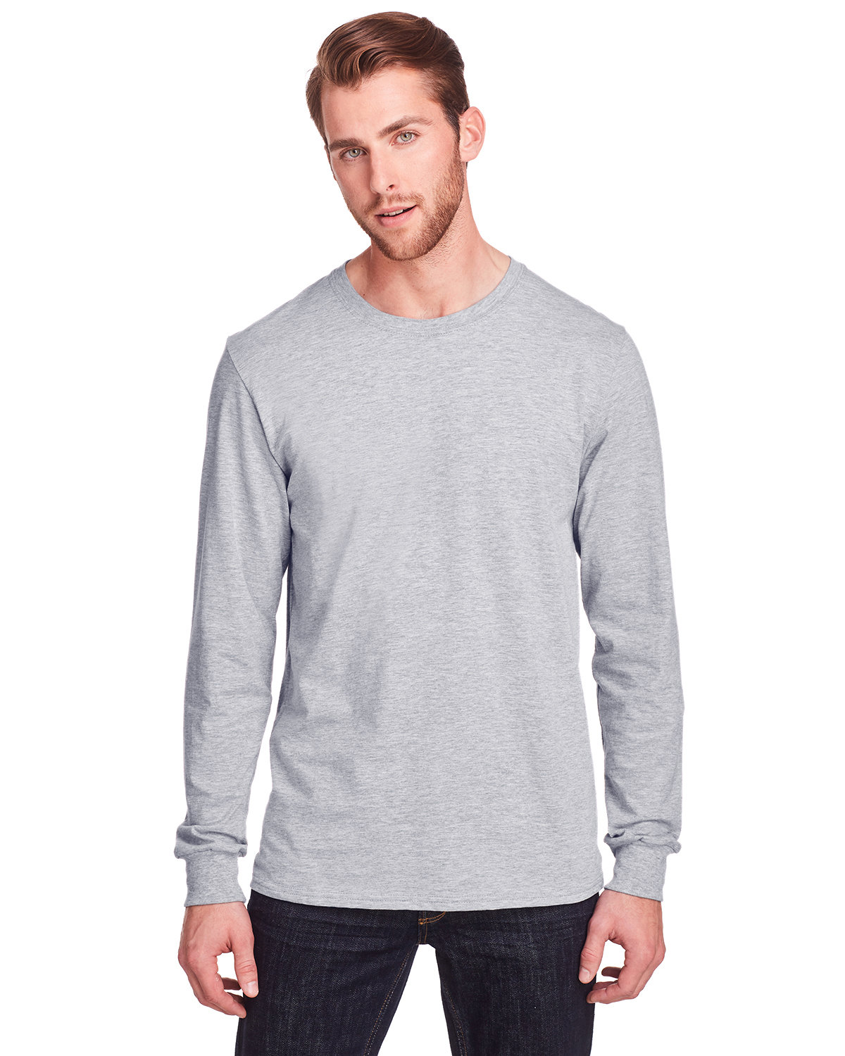 Fruit of the Loom Adult ICONIC™ Long Sleeve T-Shirt ATHLETIC HEATHER