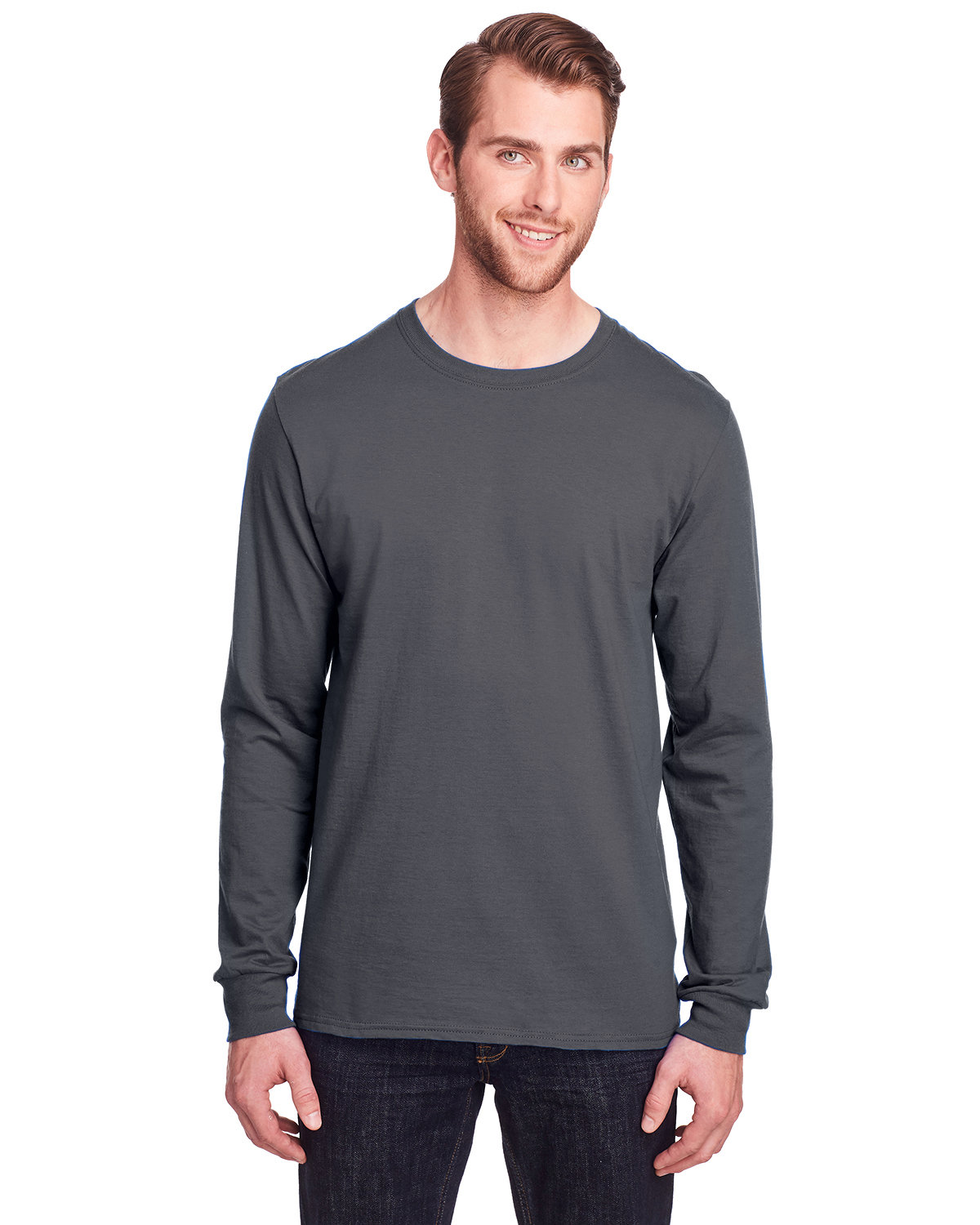 Fruit of the Loom Adult ICONIC™ Long Sleeve T-Shirt CHARCOAL GREY