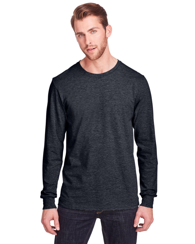 Fruit of the Loom Adult ICONIC™ Long Sleeve T-Shirt BLACK INK HEATHR