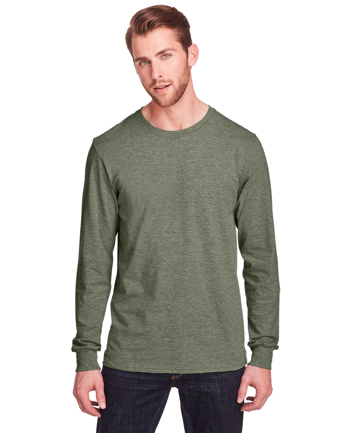 Fruit of the Loom Adult ICONIC™ Long Sleeve T-Shirt MILITARY GRN HTH
