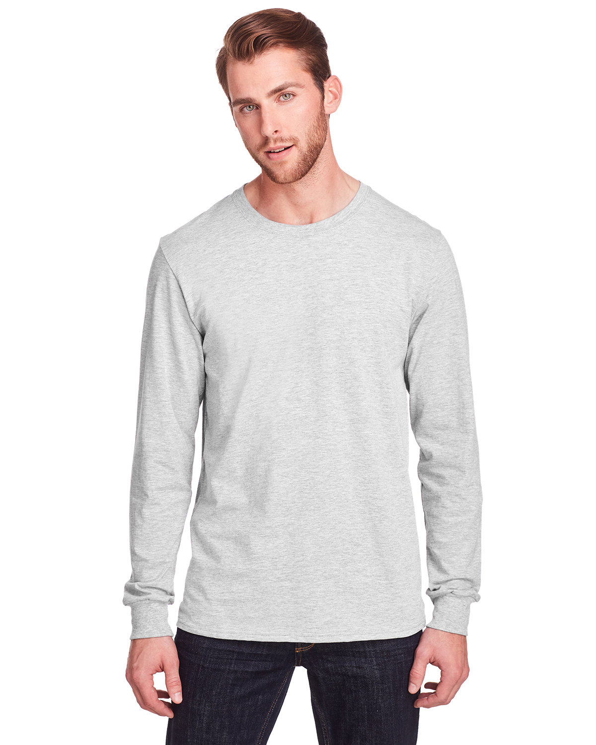 Fruit of the Loom Adult ICONIC™ Long Sleeve T-Shirt OATMEAL HEATHER