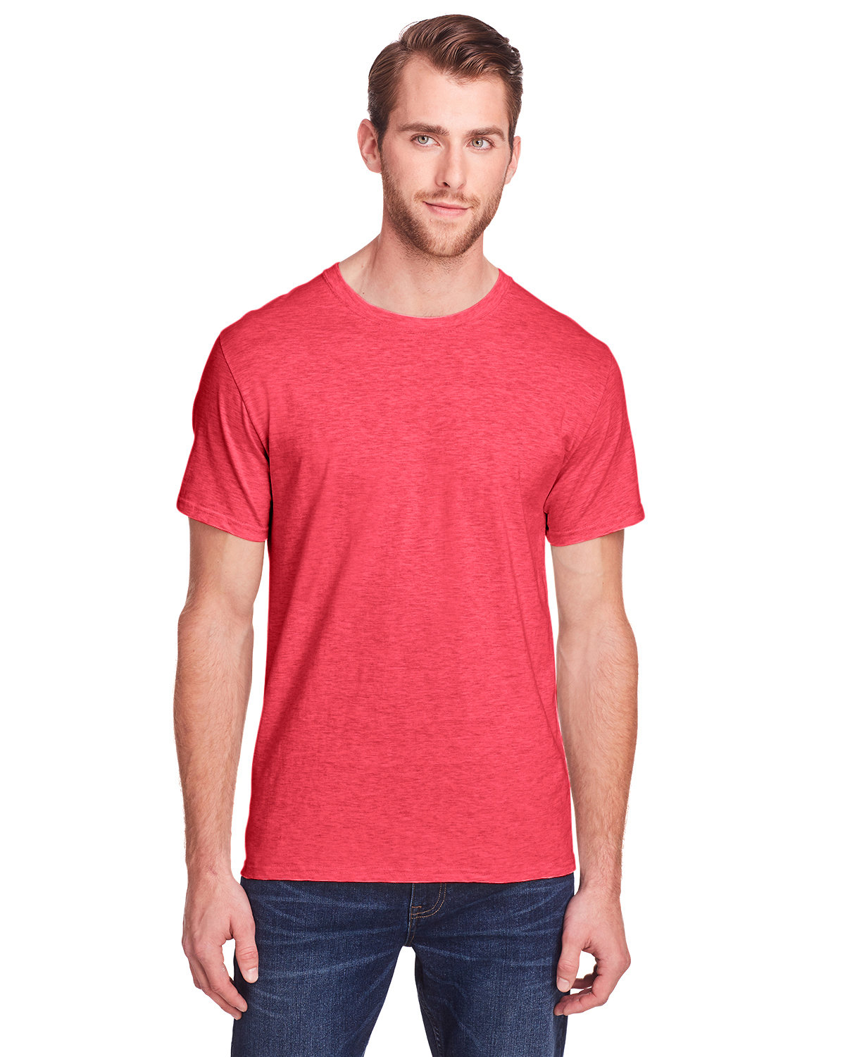 Fruit of the Loom Adult ICONIC™ T-Shirt FIERY RED HTHR