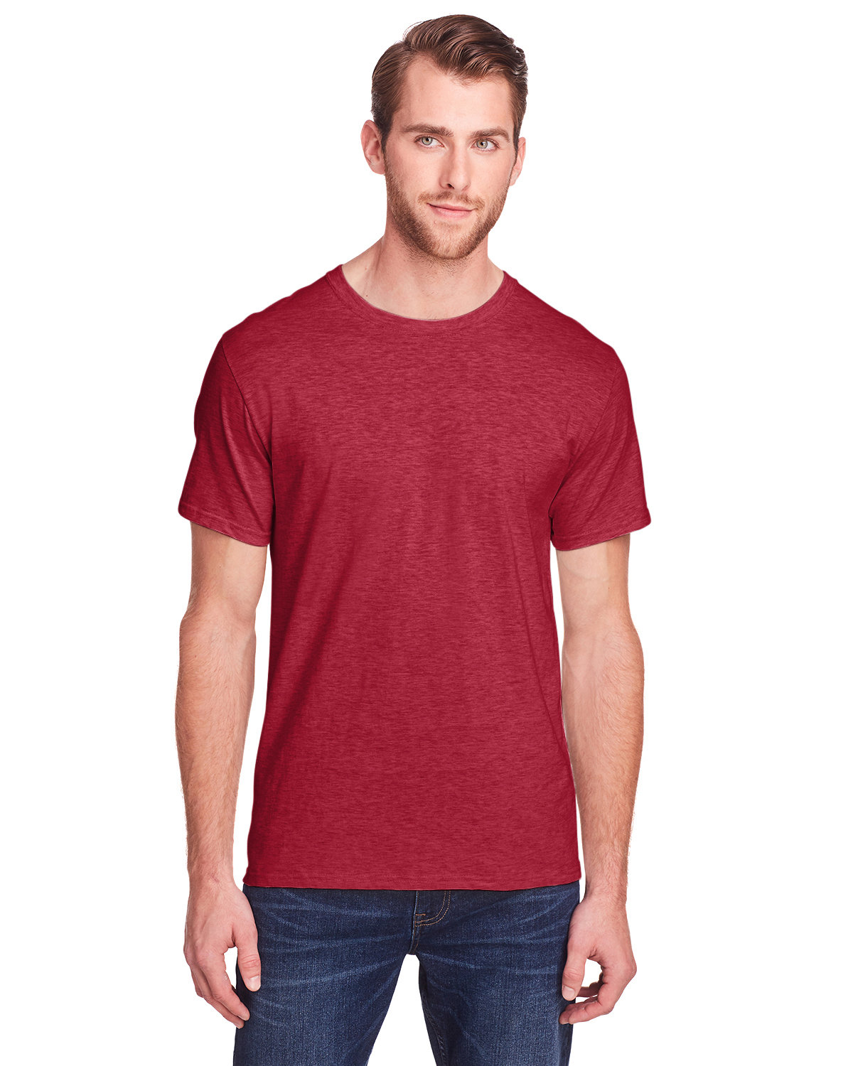 Fruit of the Loom Adult ICONIC™ T-Shirt PEPPERED RED HTH