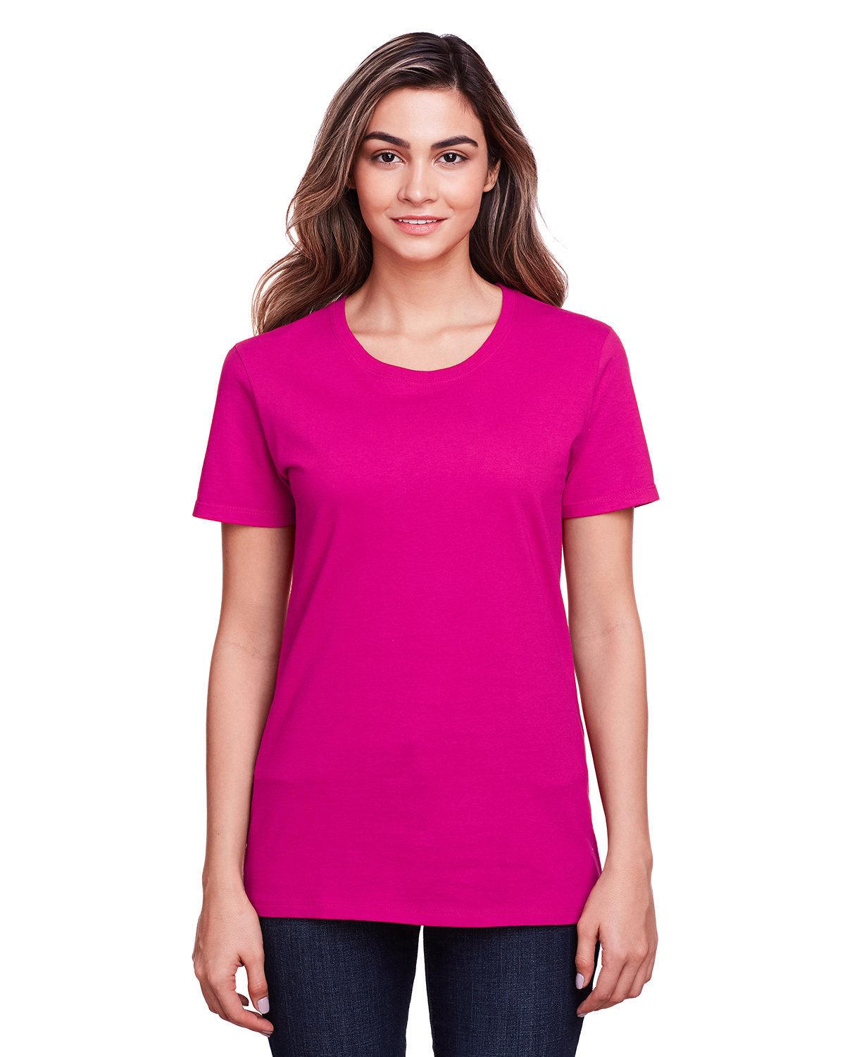 Fruit of the Loom Ladies' ICONIC™ T-Shirt CYBER PINK