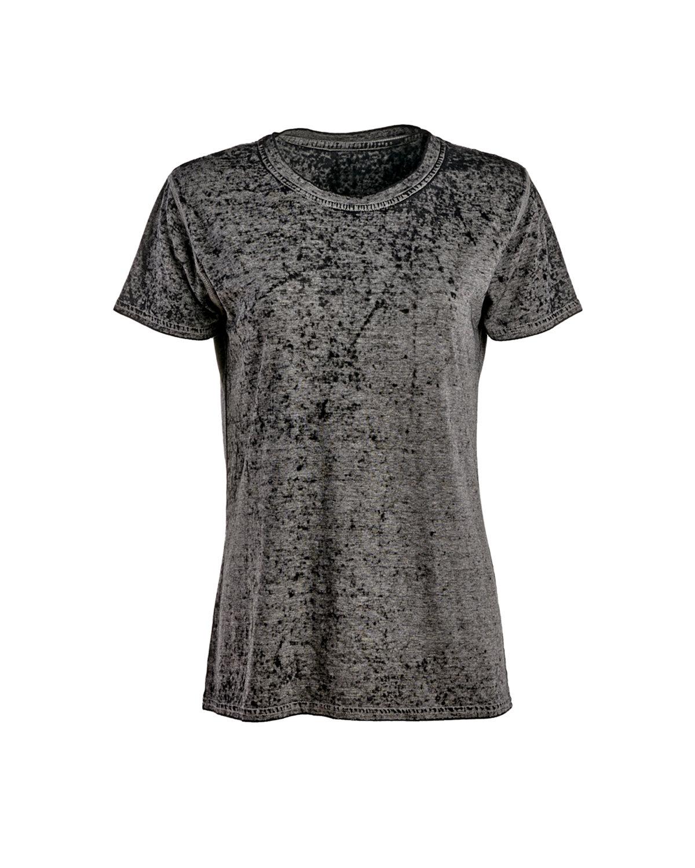 J America Ladies' Zen Jersey T-Shirt TWISTED BLACK