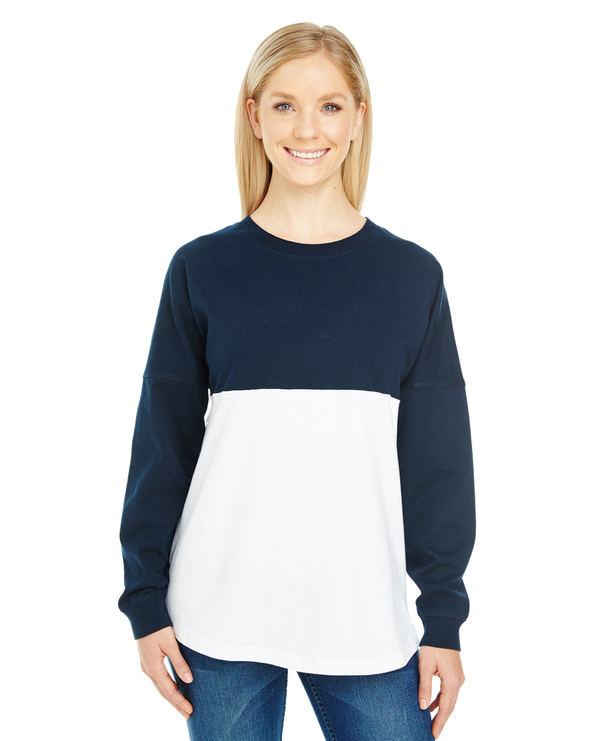 J America Adult Game Day Jersey NAVY/ WHT BLOCK