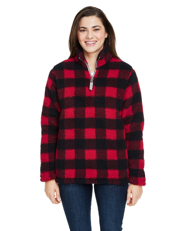 J America Ladies' Epic Sherpa 1/4 Zip RED/ BLK BUFFALO