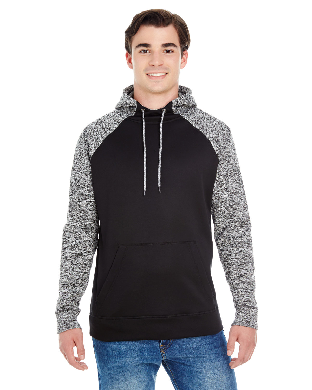 J America Adult Colorblock Cosmic Pullover Hooded Sweatshirt BLCK/ CHRCL FLK